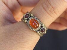 Solid Adjustable Tibetan 3-color Copper Orange Red Agate Garnet 3 Gemstone Ring