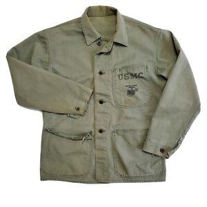 1940s WW2 USMC P41 HBT Shirt Vintage USA Military Herringbone Twill Marine Corp