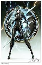 JAMIE TYNDALL -  LADY FLASH BLACK COSTUME ART PRINT - SIGNED 11X17