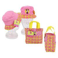Disney Minnie Mouse Summer Bucket Sun Hat & Tote Bag Set Girls Toddler 3+ NEW