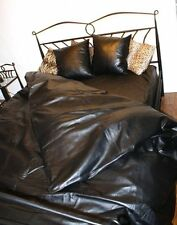 Nappa Leather Fitted Bed Sheet and Duvet Over 100 Genuine Double Single Black