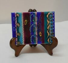 Metal and Enamel Picture Peacock Birds Feathers Stripes of Color Signed AT 4 X 3