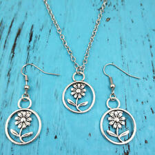 Sunflower Necklace earring pendants,Silver jewelry sets Creative Gifts