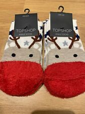 Christmas Topshop Socks 2 Pairs Reindeers, Fluffy Red Toes BRAND NEW RRP £7