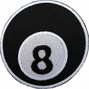 8 Ball Patch Snooker Pool Billiards T Shirt Jeans Sew Iron On Embroidered Badge