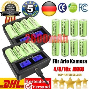 4/8/16X 2800mAh 16340 CR123A Akku + Ladegerät Wiederaufladbar Arlo Batterien GL