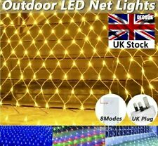 Outdoor LED String Lights Curtain Mesh Net Christmas Party Garden Patio UK plug