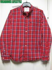 Abercrombie & Fitch Men's Plaid Poplin Red Shirt Small (S)