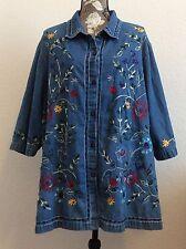 Tanzara Blue Denim 3XL Embroidered Short Sleeve Women's Jacket