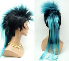 Mens Black Light Blue Mohawk Wig Punk Rock Long Straight Synthetic Costume