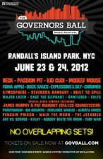 GOVERNOR'S BALL 2012 NEW YORK POSTER: Beck,Passion Pit,Modest Mouse,Fiona Apple