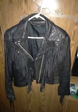 Solid Black Leather Biker Jacket With Frills. Women's Size 6 Vintage