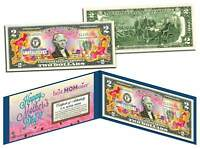 HAPPY MOTHER'S DAY Keepsake Gift Colorized $2 Bill U.S. Legal Tender with Folio