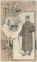 Czar Top Coat for Winter Victorian Men's Fashion Clothing Trade Card.