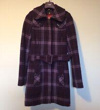Women's EDC Duffle Coat Size XS 6-8 Wool Ladies Esprit Checked Purple Trench