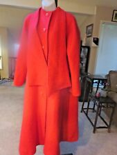 ~MAYFAIR Vintage Red Mohair Long Mod Coat Attached Shawl Scarf Sz XL~Satin lined