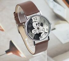 Free Gift Bag Children's Disney Mickey Minnie Mouse Watch Brown Strap Easy Read