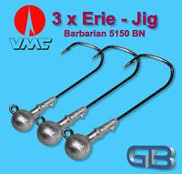 3 x VMC Barbarian Jig 5150 BN 4/0 - 10g Jigkopf Jighaken Eriekopf Bleikopf.