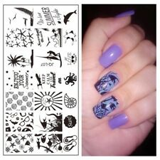 Nail Art Stamping Plates Image Plate Summer Palm Trees Holidays Fish Dolphin JQ7