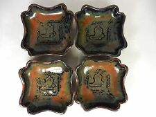 Pottery Set of 4 Dip or Appetizer Dishes Western Cowboy Design Signed Eliana 9