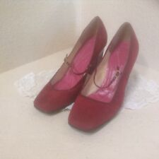 Kate Spade Red Suede Loafer Flats Size 8.5 Round Toe Classic Style Leather