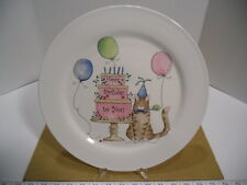 """12"""" Round Painted Porcelain Cat & Balloons Happy Birthday to You Cake Plate, EUC"""