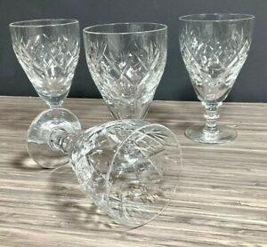 Webb Corbett Crystal Georgian Pattern Claret Wine Glass Set of 4 VTG