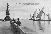 The Sea With Lesseps Statue Port Said Egypt Africa Postcard