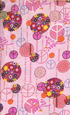 OOP! PEACE SIGN ON PINK  COTTON FABRIC - BTY