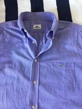 Lacoste para Hombre Manga Corta Cuadros Camisa en Talla 42, grandes