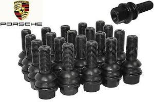Complete Set Of Porsche Cayenne OEM 14x1.5 R14 Lug Bolts Black W/ Swivel Washer