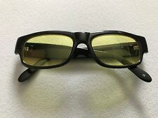 MENS RETRO BLACK PLASTIC SUNGLASSES UV PROTECTION RECTANGLE YELLOW LENS