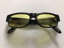 Da Uomo Retrò nero plastica Occhiali da sole protezione UV Rettangolo LENTE GIALLA