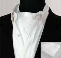 Luxury Pure White Floral Cravat NEW Paisley Silk Scarf Ascot Tie FREE Hanky