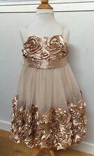 SATIN ROSE Flower Girl PARTY DRESS Mesh Tulle Net BONNIE JEAN Shimmery CARAMEL 7