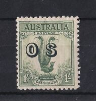 APD675) Australia 1932 1/- Yellow Green Lyrebird, ovpt. OS. Mint lightly hinged