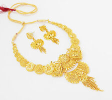 Indian Bollywood Jewelry 22k Gold Plated Fashion Wedding Necklace Earrings Set A