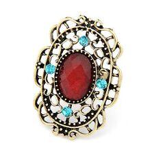 anello bronzo ovale grande filigrana rosso fantasia blu cristallo retrò gotico