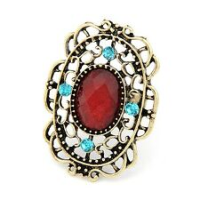 ring bronze oval groß filigrane rot phantasie blau kristall retro gothic