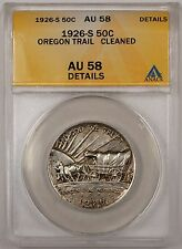 1926-S 50C Oregon Trail Silver Half Dollar ANACS AU-58 Details Cleaned