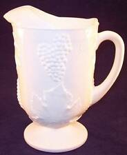 Vintage Colony Harvest 64 oz. Milk Glass Pitcher with Ice Lip, Grapes & Leaves
