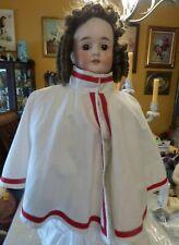 Bisque Doll Civil /WW1 Nurse Military Religious UNIFORM CAPE White w Red Trim