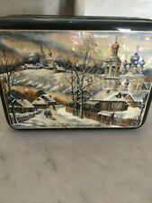 Russian Lacquer Box Architectural Scene w/ Mother Of Pearl Mop