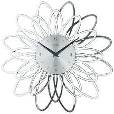 AMS 9362 Wanduhr Quarz analog silbern modern florales Design