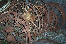 STEEL   WAGON WHEELS YARD ART DRIVEWAY ANTIQUE RATROD  JUNKY JOES TULSA, OKLA