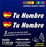 X2 PEGATINAS PERSONALIZABLES -BANDERA DE ESPAÑA CON NOMBRE -MOTO Y COCHE CORAZON