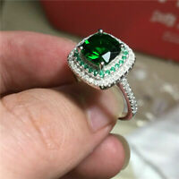 3Ct Cushion Cut Green Emerald Double Halo Engagement Ring 14K White Gold Finish