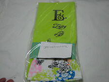 Blooming Impressions Embroidery Monogram E Guest Towels  Set of 2 Lime - Floral