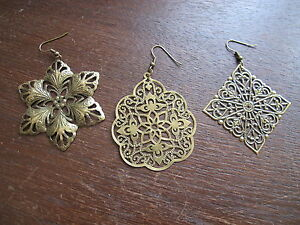 Große lange Ornament Ohrringe bronzefarben Ohrhänger einzeln oder als Paar