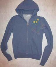 LOVE YAYA dusty blue embroiudered long sleeve zip up   hooded hoodie top 1 S/M
